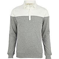 Grey 2 in 1 sliced shirt sweatshirt