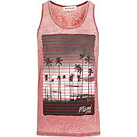 Red burnout Miami 1991 print vest
