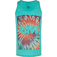 Green burnout rave print vest