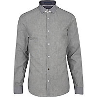 Grey dogtooth collar long sleeve shirt