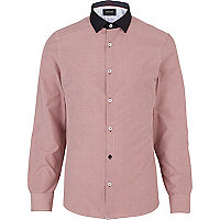 Red contrast collar gingham check shirt
