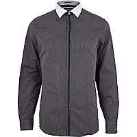 Navy thin stripe contrast placket shirt