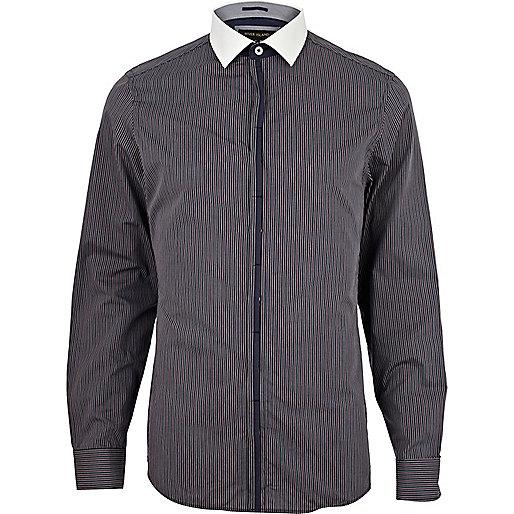 Navy thin stripe contrast placket shirt
