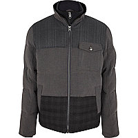 Grey check panel down feather padded jacket