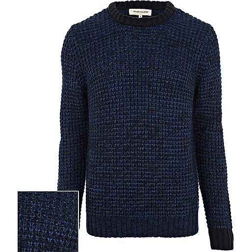 Blue textured contrast trim jumper