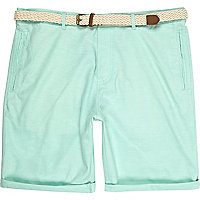 Mint green turn up shorts