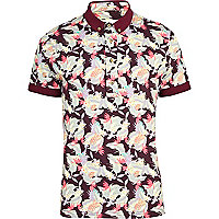 Red Bellfield leaf print polo shirt