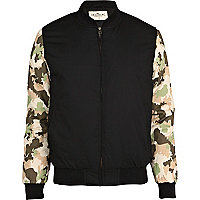 Black Bellfield camo sleeve bomber jacket