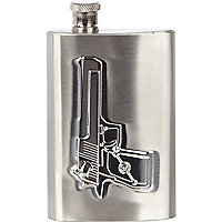 Silver tone metal gun hip flask