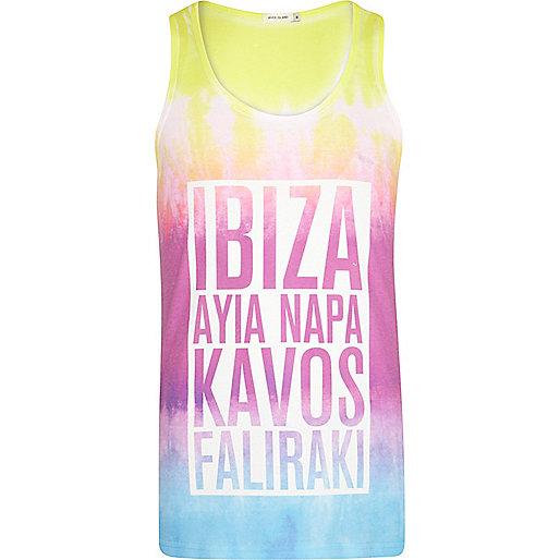 Purple tie dye Ibiza print vest