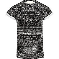 Black script print short sleeve t-shirt