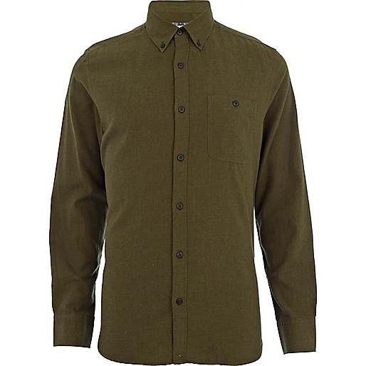 Khaki green flannel long sleeve shirt