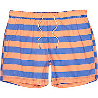 Blue and orange stripe short swim shorts