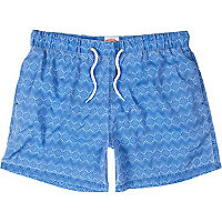 Blue geometric print swim shorts