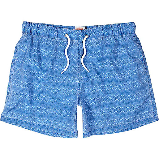 Blue geometric print short swim shorts