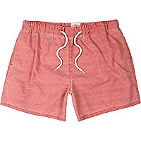 Red geometric print short swim shorts