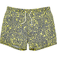 Yellow abstract print swim shorts