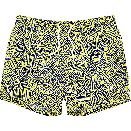 Yellow abstract print short swim shorts