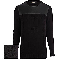 Black contrast yoke cable knit jumper