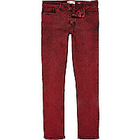 Red acid wash Flynn skinny jeans