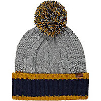 Grey contrast trim cable knit beanie hat