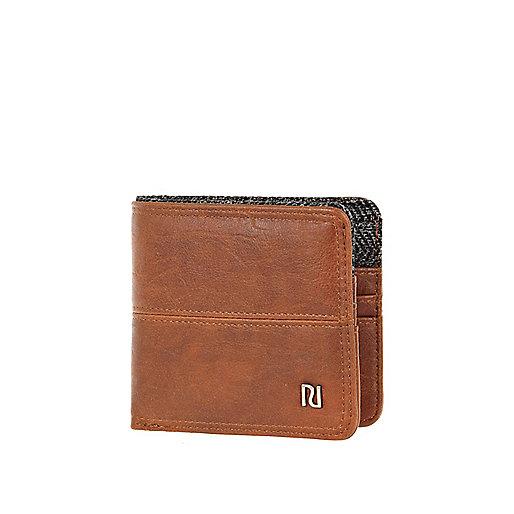 Brown and herringbone wallet