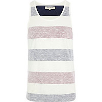 Ecru reverse colour block stripe vest