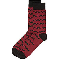 Dark red moustache print socks