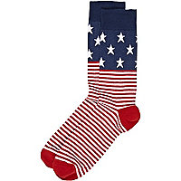 Red stars and stripes print socks