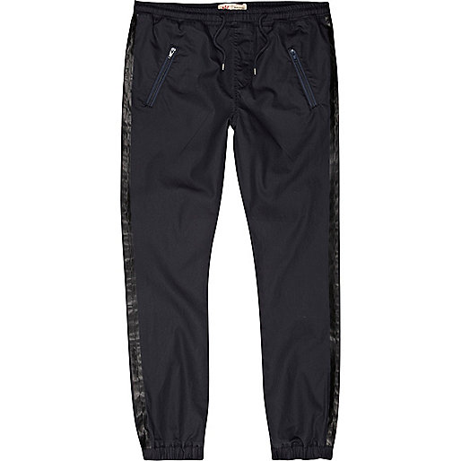 Navy coated side stripe joggers