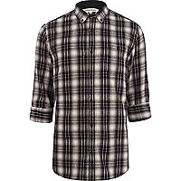 Black check roll sleeve shirt