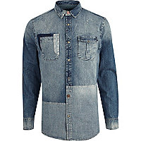 Mid wash mixed patchwork denim shirt