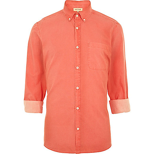 Pink washed roll sleeve shirt