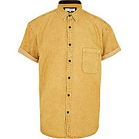 Yellow acid wash boxy denim shirt