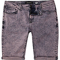 Red acid wash denim shorts