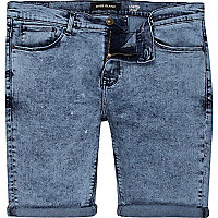 Mid acid wash skinny stretch denim shorts