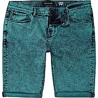 Green acid wash denim shorts