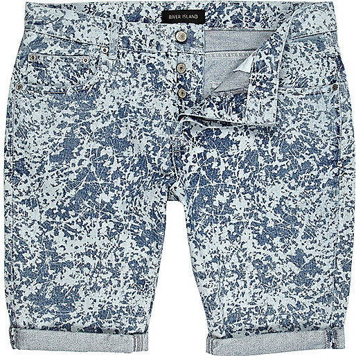 Light wash bleached pattern denim shorts