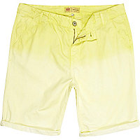 Light yellow dip dye chino shorts