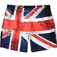 Blue flag print swim shorts