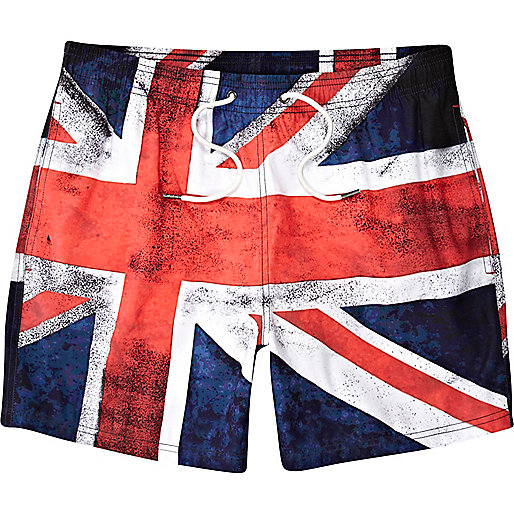 Blue flag print mid length swim shorts