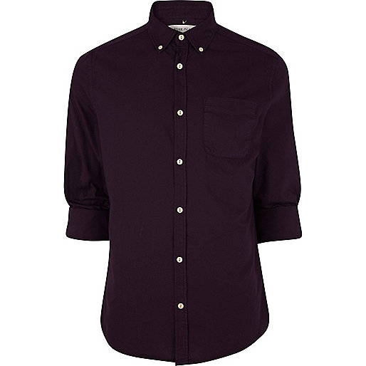 Dark purple roll sleeve Oxford shirt