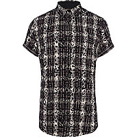 Black animal print check shirt