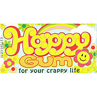 Novelty happy chewing gum
