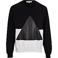Black and white two-tone triangle sweatshirt