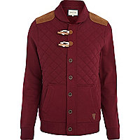 Red quilted duffle sweat jacket