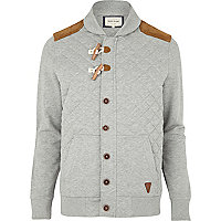 Grey quilted duffle sweat jacket