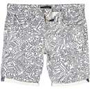 Grey line print canvas shorts