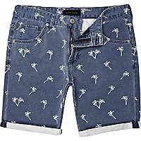 Navy palm tree print shorts