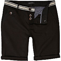 Black stripe waist chino shorts
